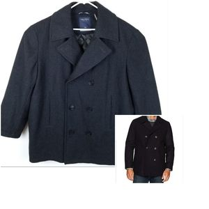 Nautica Pea Coat Wool XXL 2XL Black SHORTENED ARMS